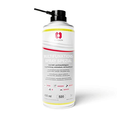 ELASKON Multifunktionsspray für Auto, Motorrad & Haushalt/Schmieröl-Spray als silikonfreies Sprühöl/Graphitiertes Rostlöser-Spray als Schutz vor Verschleiß & Nässe (1 x 400 ml Aerosoldose)