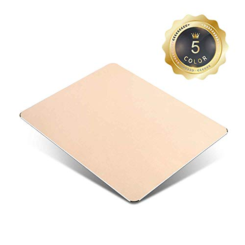 Metal Aluminum Mouse Pad with PU Leather,Thin Double Side Mouse Mat Waterproof Fast and Accurate Compatible with Computers, Laptops and Desktops(8.66Inch x 7.08 Inch)(Gold)