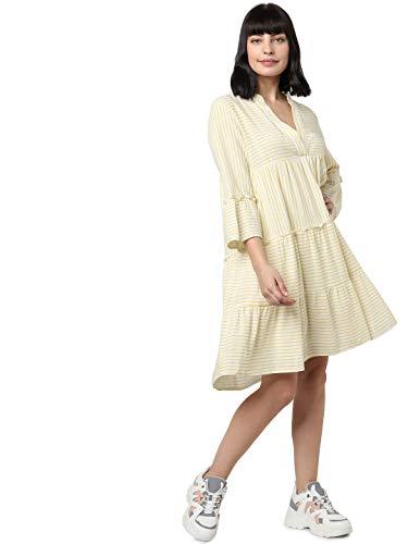 VERO MODA Damen VMHELI 3/4 Short Dress WVN GA Kleid, Snow White-Banana Cream, XS