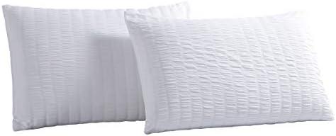 Vaulia Decorative Seersucker Pattern Design Soft Microfiber King Size Pillow Shams White Set product image