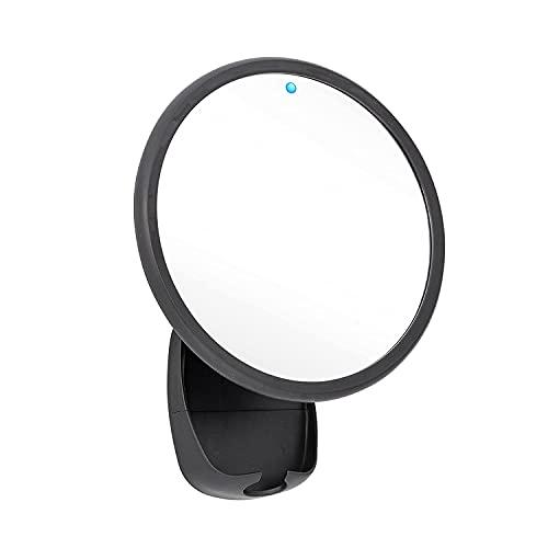 Airia Living Battery Powered Heated Glass Fogless Efficient Shaving Mirror Shatterproof Shower Mirror with 3M Tape, Razor Holder, & 360 Swivel, Black 7.1' x 8.7'