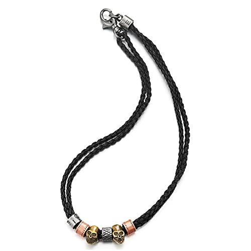 COOLSTEELANDBEYOND Colgante de cuentas de latón envejecido, diseño de calavera de oro rosa, collar de cuero trenzado negro de dos filas