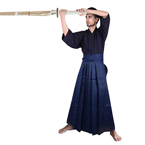 Herren Kendo Hakama Aikido Japanisches Samurai Kostüm Baumwolle Judo Kampfsport Uniform Kendogi Kimono Hose Anzug (Marineblau, Höhe 180 cm)