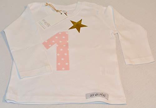 Der Wollprinz Geburtstagsshirt für Kinder mit Zahl, Kindershirt mit Zahl 1 T-Shirt mit Zahl 1 in weiss mit der Zahl 1 in rosa langärmlig