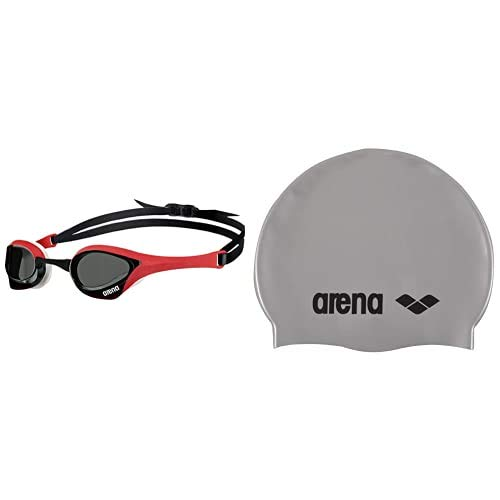 ARENA Cobra Ultra Gafas de natación, Unisex Adulto, Smoke/Red/White, Talla Única + Classic Gorro de Natación, Unisex Adulto, Plateado (Silver/Black), Talla Única