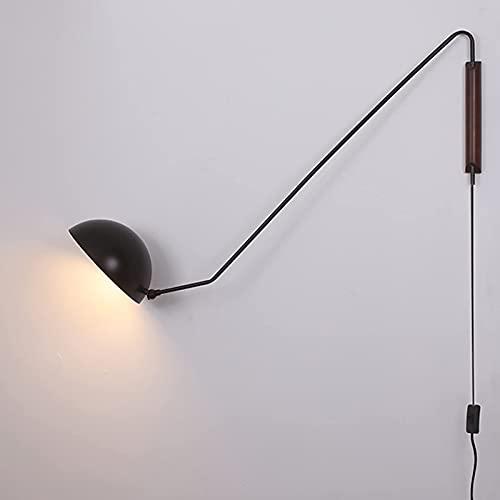 Lámpara de pared retro de brazo largo con enchufe, brazo oscilante industrial vintage, lámpara de pared ajustable, aplique E27 con interruptor y cable de 1,5 m, luces...