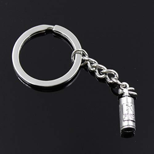 ZHTCD Mode Heren 30 mm sleutelhanger DIY metalen ketting vintage brandblusser brandblusser 23 x 6 mm hanger zilver cadeau
