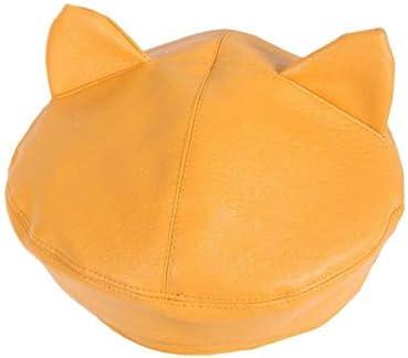TWDYC Women Girls Cute Ears Beret Cap Faux Leather Solid Color Painter Student Adjustable Vintage Classic Octagonal Hat (Color : A)