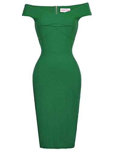 Sexy Women Vintage Off Shoulder Pencil Dress Knee Length V Neck Green S BP387-2