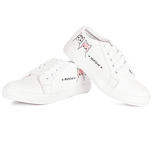 Vendoz Women and Girls Latest Collection Stylish White Casual Shoes Sneakers
