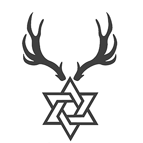 JZLMF JZLMF Antlers and Six Pointed Herbal Juice Tattoo Stickers for Boys, Pretty, Durable, Waterproof, Semipermanente, Simple and Fresh