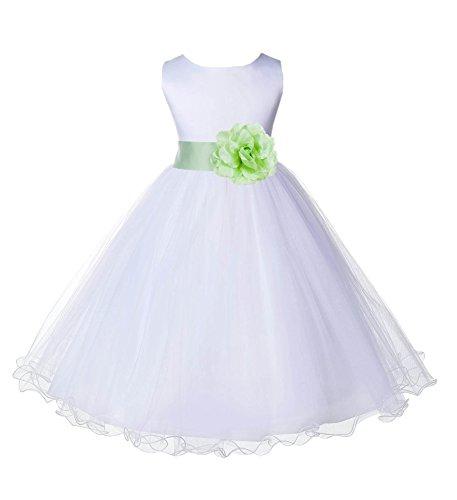 Wedding Pageant White Flower Girl Rattail Edge Tulle Dress 829s 12