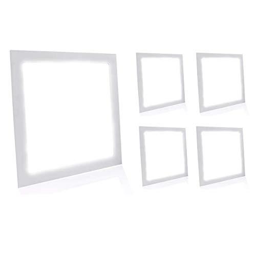 Kit 5 Painel Plafon Luminária Led 25w Quadrado Embutir - Branco Neutro Decoração Iluminação