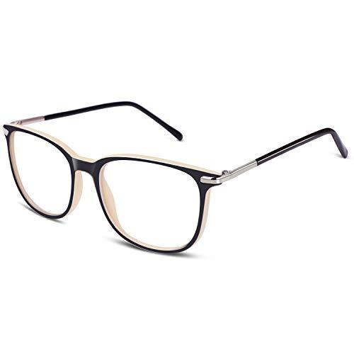 GQUEEN Hornbrille Brille Ohne Stärke Fake Brille Nerdbrille Damen Herren UV400,PS9