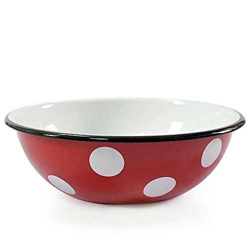 White Dot Large Red Enameled Steel Mixing Bowl, 4.2 qt Kitchen devices Kitchen utensils set Kitchen equipment Cooking utensils mixing bowl Kitchen utensils