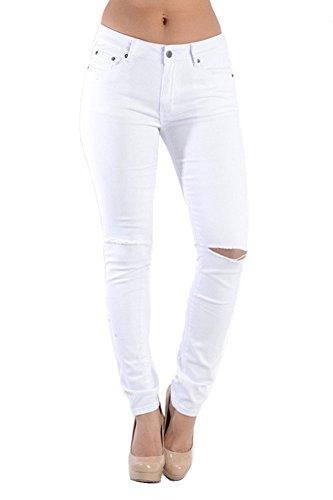 American Bazi Colored Cut Skinny Fit Jeans RJL369 - WHITE - 3 - J15B