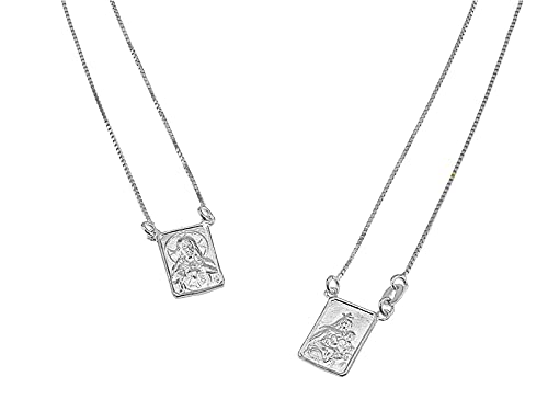 FRONAY Sterling Silver Escapulario Necklace, Double Sided Scapular Pendant, Religious Fine Jewelry