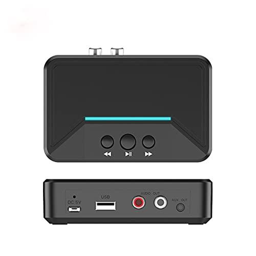PFDTS 5.0 Receptor Bluetooth AUX 3. 5mm RCA USB Adaptador inalámbrico de audio estéreo de reproducción inteligente para el altavoz del kit de coche