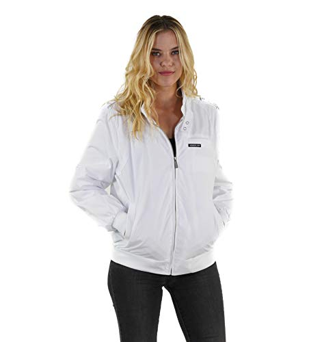 Members Only Women's Classic Iconic Racer Jacket - White L