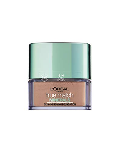 L'Oréal París Accord Parfait, Fondo de Maquillaje Polvos Minerales para Pieles Medias Oscuras, Tono 6N Miel