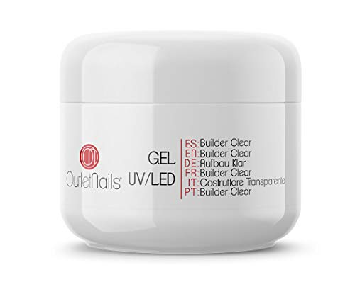 UV Gel Construcción Transparente 50ml | Builder Clear - Viscosidad Alta | Ideal para UV/LED | Outlet Nails