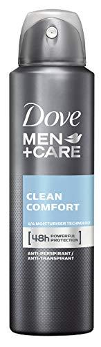 Dove Men+Care Anti-Transpirant Spray gegen Körpergeruch und Achselnässe Clean Comfort 48 Stunden Schutz, 3er pack (3 x 150 ml)
