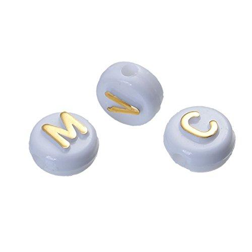 Sadingo Acryl Buchstabenperlen - 200 Stück - 10 mm - weiß mit Goldener Schrift - zufälliger Mix - Namensschmuck basteln