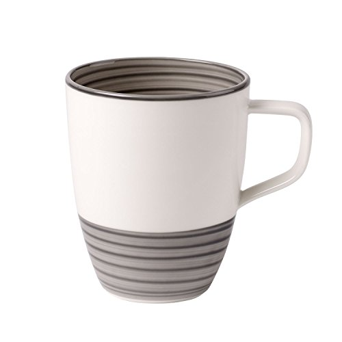 Villeroy & Boch Manufacture Grau Kaffeebecher, 380 ml, Premium Porzellan, Grau