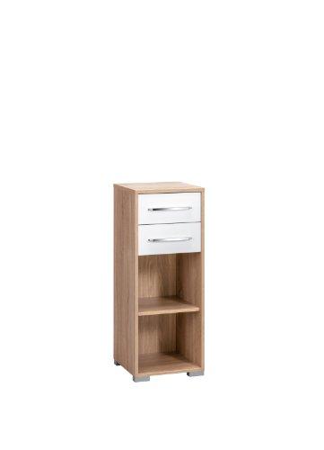 MAJA-Möbel 1224 2556 Aktenregal mit Schubladen, Sonoma-Eiche-Nachbildung - weiß Hochglanz, Abmessungen BxHxT: 42,1 x 109,7 x 40 cm