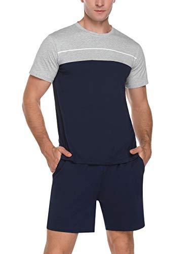 Akalnny Schlafanzug Herren Kurz Sommer Pyjama Set Baumwolle Zweiteiliger Kurzarm Nachtwäsche Männer Blau XL