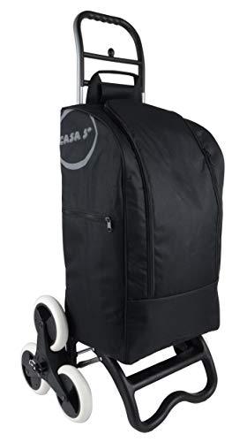 BigDean Einkaufstrolley mit Treppensteiger-Funktion, Kühlfach & 6 großen Rädern - 40L faltbar schwarz - Einkaufswagen Einkaufsroller Kühltasche Einkaufstasche Shopping Trolley