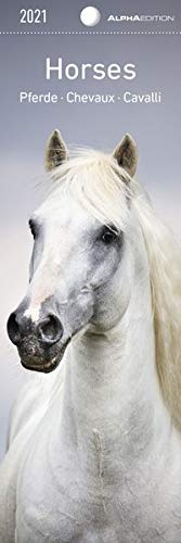 Pferde 2021 - Lesezeichenkalender 5,5x16,5 cm - Horses - Tierkalender - Lesehilfe - Alpha Edition