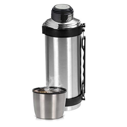 Oramics Thermoskanne 1 Liter aus Edelstahl mit Klickverschluss, Henkel und Deckel als Becher – Isolierflasche, Kaffeekanne für In- und Outdoor, Isolierkanne für Kalt- und Warmgetränke