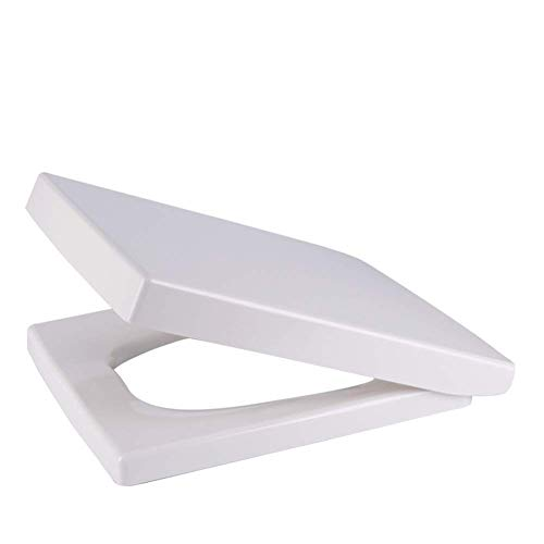 DYB Energiesparender Toilettensitz Quadratischer Toilettendeckel mit weichem, langsam schließendem Scharnier, stumm verdickter Toilettensitzbezug, Weiß passt Immer, rutscht nie aus dem Toilettensitz