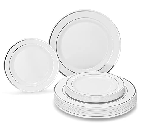 """OCCASIONS"" 50 Pack, Premium Disposable Plastic plates,( 25 Dinner + 25 Salad plates) White/ Silver Rim"