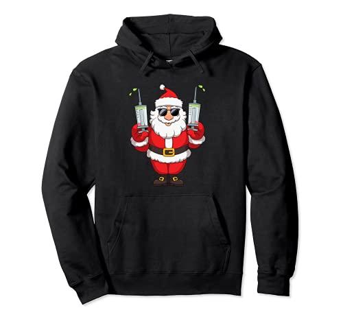 Vacunado Santa Claus Funny Merry Christmas 2021 Sudadera con Capucha