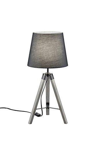 lightling modern Tischleuchte Tripod Lina mit Dreibein aus Holz, Stoffschirm grau, 1 x E27 max. 40W, ø 26 cm, Höhe 57.5 cm
