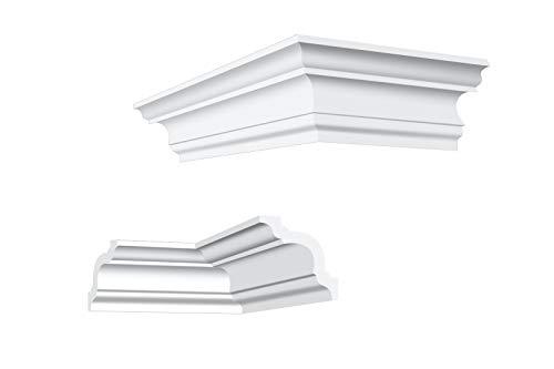 Innen- und Außenecke | passend zur Leiste E-14 | extrudiertes Styropor | Stuckprofil | Decken-/ und Wandübergang | modern weiß | dekorativ | XPS | 50 x 50 mm | NK-E-14
