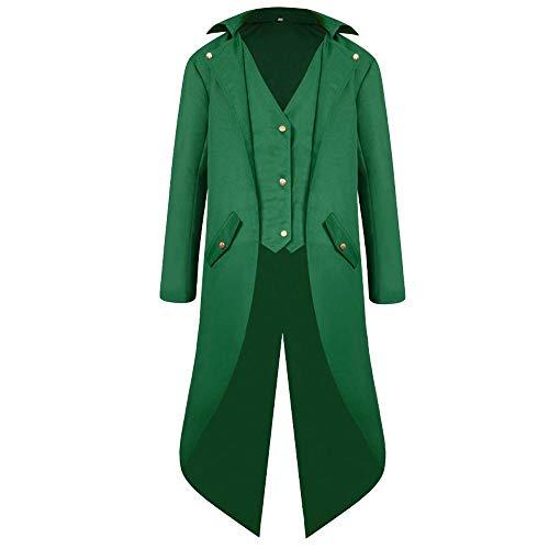 Madmoon Mode Herren Mantel Frack Jacke Gothic Gehrock Uniform Kostüm Party Oberbekleidung Langärmeliger Mantel einfarbig Mode Steampunk Retro Smoking Herren Uniform Kleid