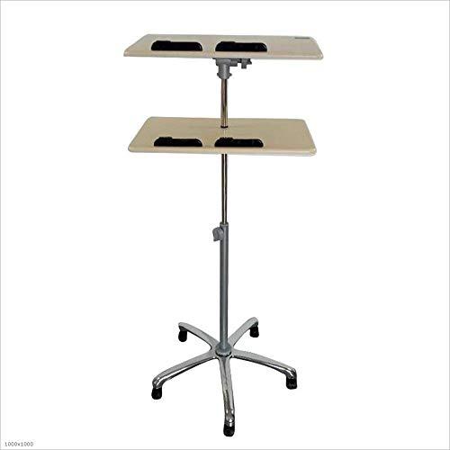 Axdwfd Station de travail d'ordinateur portable à 2 niveaux, fond réglable en hauteur avec roulettes, table d'étude 35 * 60 * 79~124CM