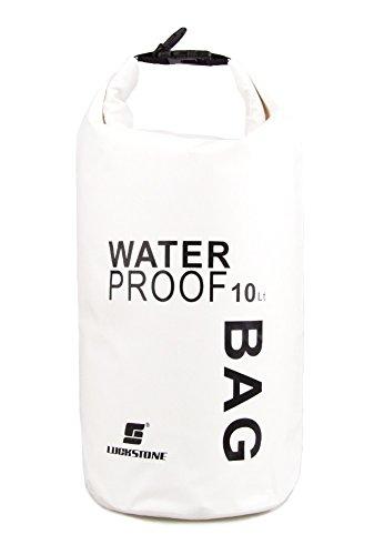 ocsoso® Ultra léger Bateau Sacs étanches Randonnée Imperméable Snowboard Dry Sack avec ceinture ADJUSTBALE Capacité : 10 L Blanc