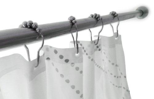 Wrenwane Premium Shower Curtain Hooks, 100% Stainless Steel, Polished Chrome, Set of 12 Rings