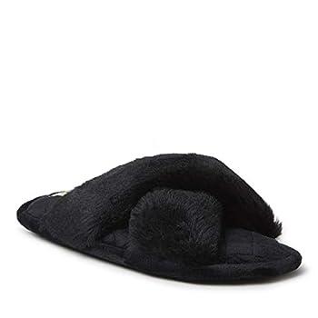 Dearfoams Women s Jessica Furry Cross Band Slide Slipper Black Large