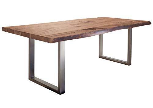 Table à manger 210x110cm – Fer et bois massif d'acacia laqué (Natural Stone) - FREEFORM #129