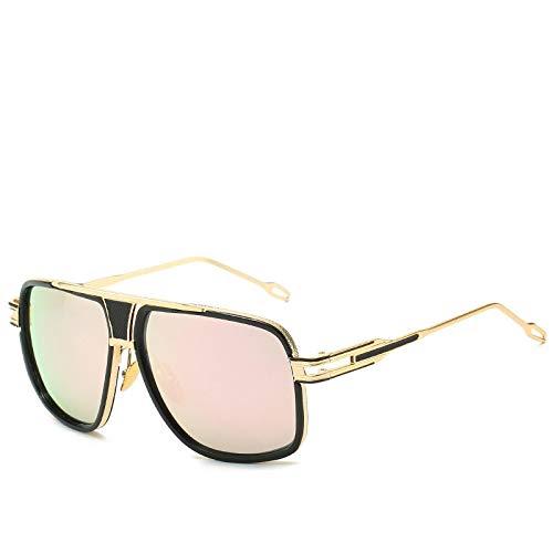 HAOMAO Diseñador de la Marca Vintage Square Uv400 Mirror Gafas de Sol de Gran tamaño para Hombres C6
