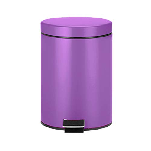 CSQ- Indoor Trash Can, 5L Household Living Room Bedroom Pedal Type Trash Can Stainless Steel Trash Can 202028CM (Color : Purple)