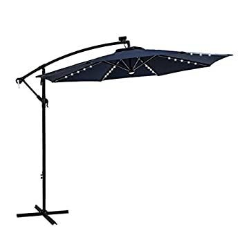 FLAME&SHADE 10 ft Solar LED Light Outdoor Adjustable Cantilever Hanging Offset Patio Umbrella with Stand Navy Blue