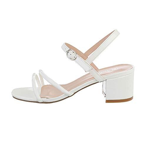 Ital-Design Damenschuhe Sandalen & Sandaletten High Heel Sandaletten, YL71-43-, Kunstleder, Weiß, Gr. 37