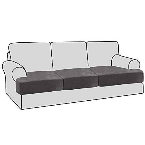 H.VERSAILTEX Stretch Velvet 3 Piece T Cushion Sofa Slipcovers Individually Sofa Cushion Covers for 3 Cushion Couch Seat Cushion Covers for Sofa Seat Cushion Covers Stay with Elastic Bands, Grey