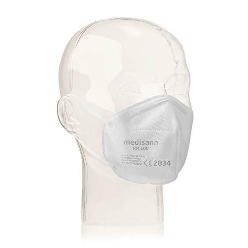 Medisana RM100 FFP2/KN 95 Mascarilla de protección respiratoria, Máscara antipolvo, Máscara antipolvo de 3 capas, Máscara facial 10 piezas empaquetadas individualmente en una bolsa de PE